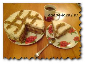 Ореховый торт для праздничного весеннего стола.