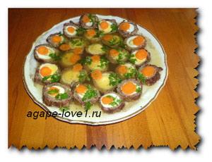 Рецепт заливного из телятины для весеннего праздничного стола